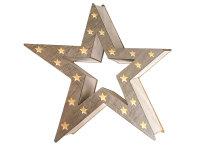 Decolux® LED Holzdekoration Stern hohl grau